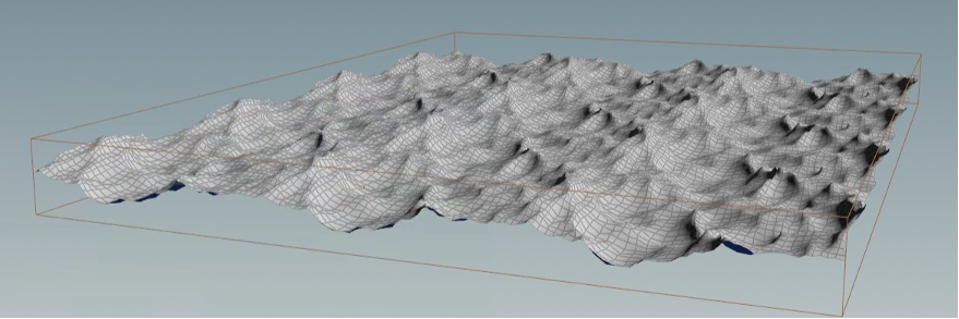 Single Plane Geometry generated by the Ocean Tool inside of Houdini