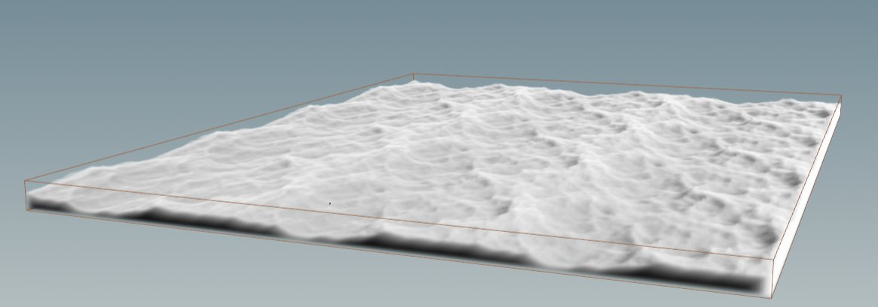 Geometry generated from a single plane is extruded to give depth and then converted to a volume