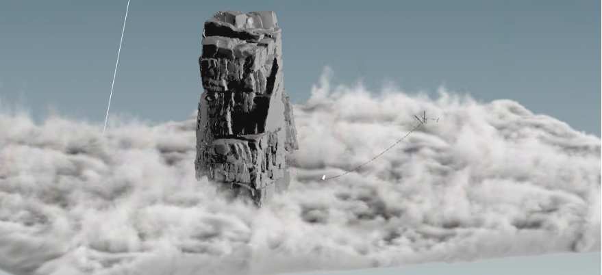 The scale of the large rock pillars meant that the scale of details on the ocean would need to be highly detailed