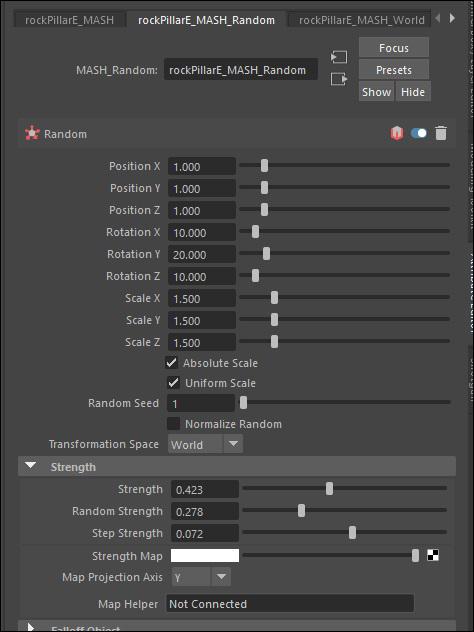 Randomization node menu