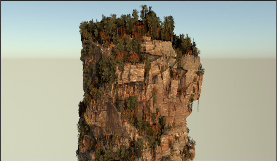 Render of low-resolution pillar with low resolution foliage