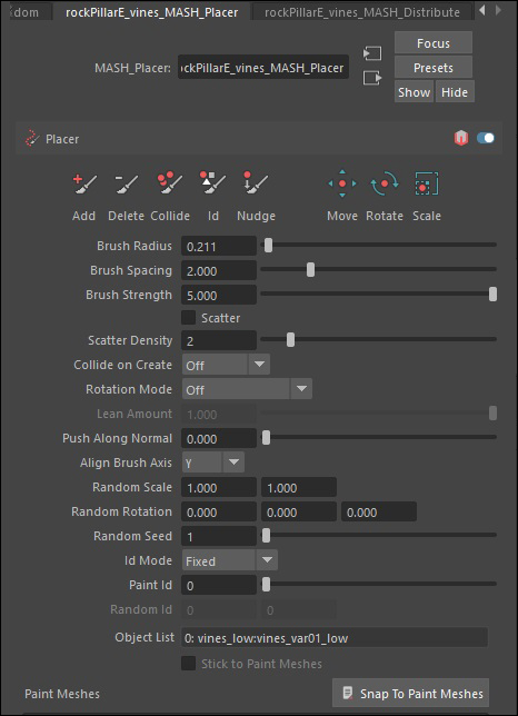 Placer node menu
