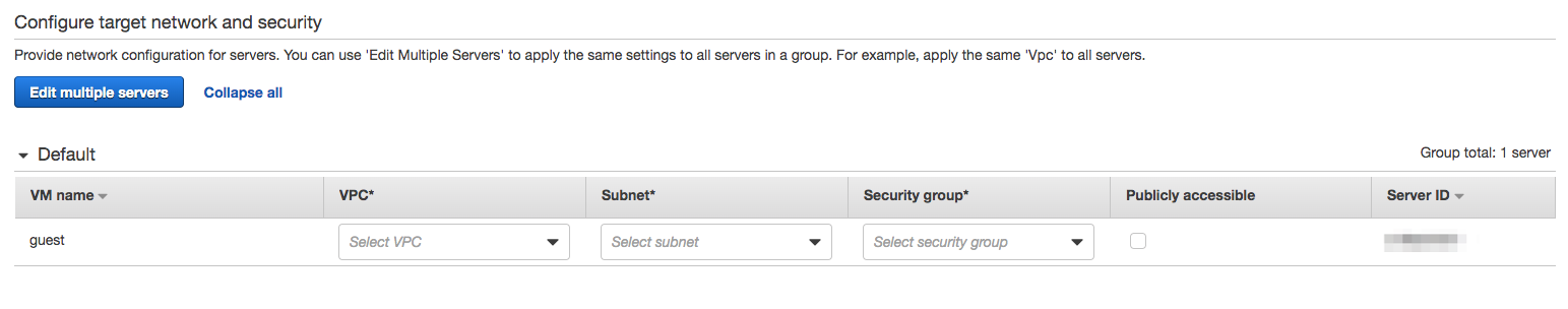 AWS SMS Target Instance Configurations