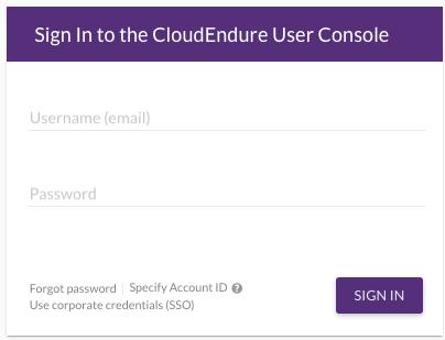 CloudEndure Console
