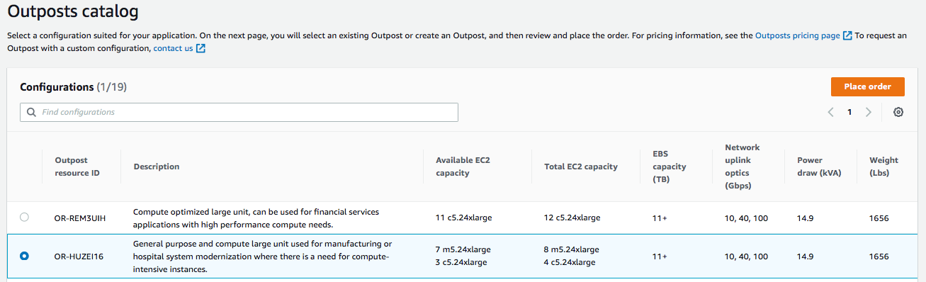 Figure 4. Outpost catalog view of OR HUZEI16 as seen via AWS Management Console