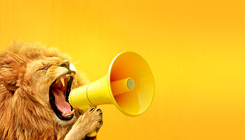 Lion with megaphone