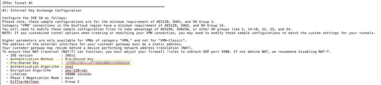 Figure 7- VPN Configuration - Pre-shared key