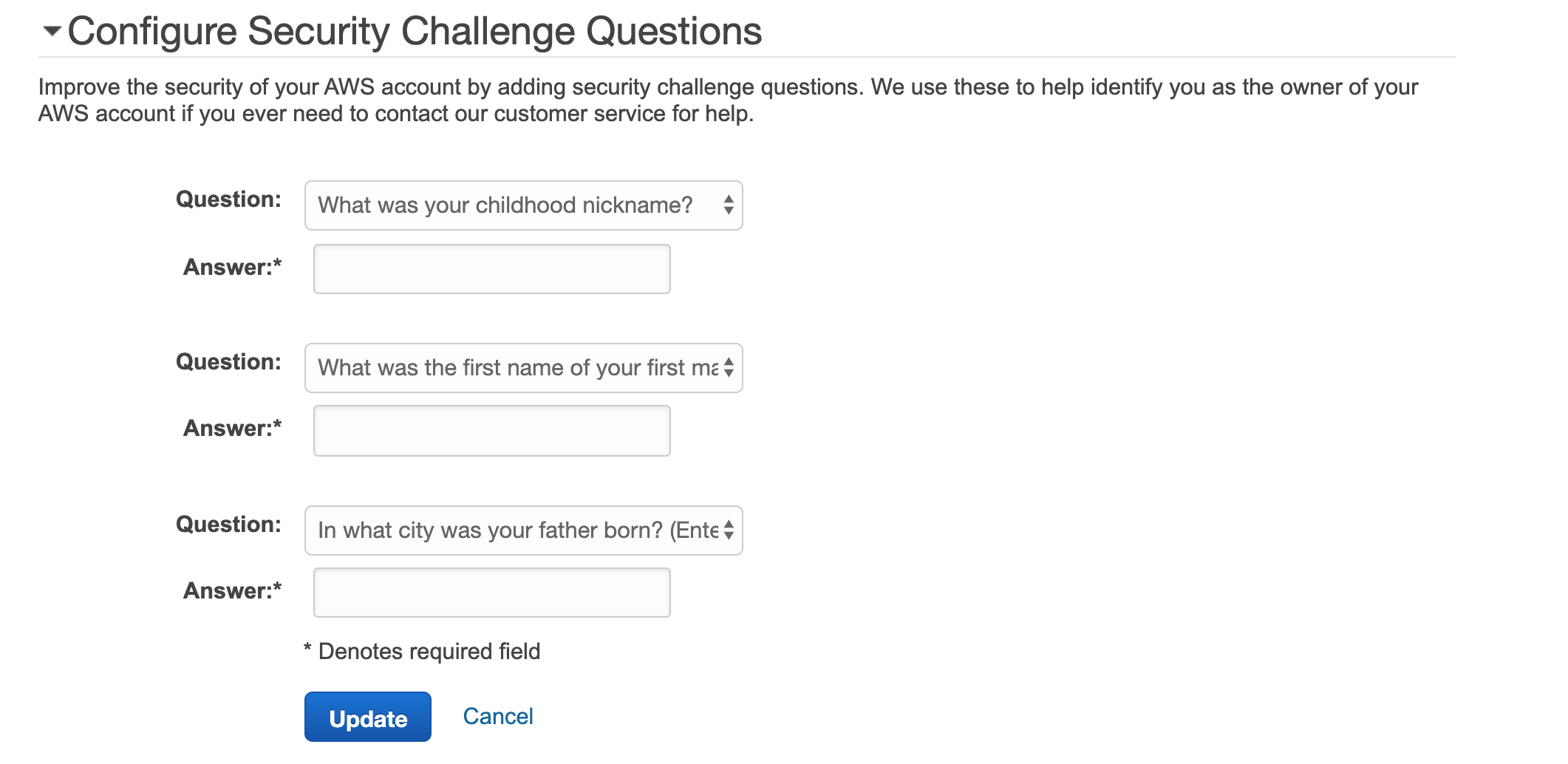 security challenge questions
