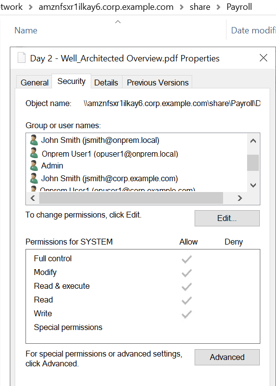 Payroll properties screenshot