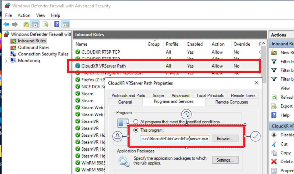 Enabling the VRSERVER.EXE application through the Windows Application Firewall.