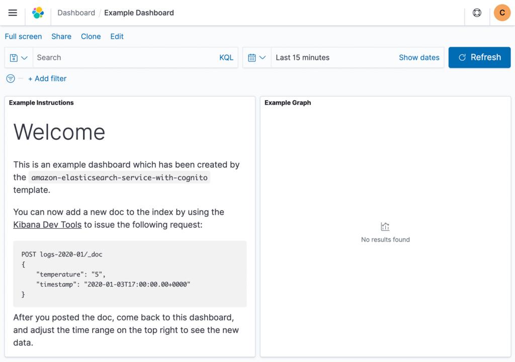 example dashboard screenshot