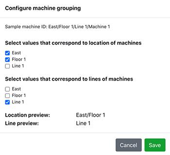 Machine Grouping modal