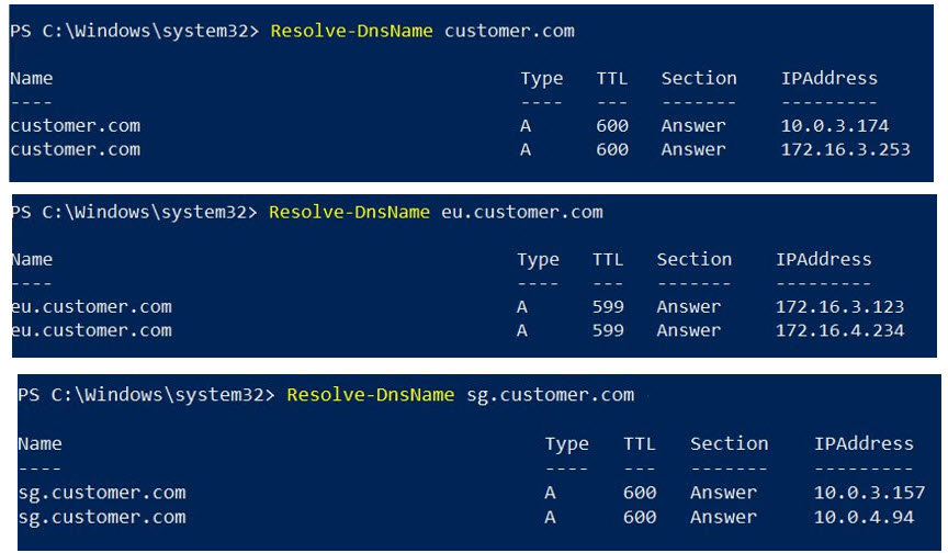 Resolution of DNS query in Powershell for the customer.com domain