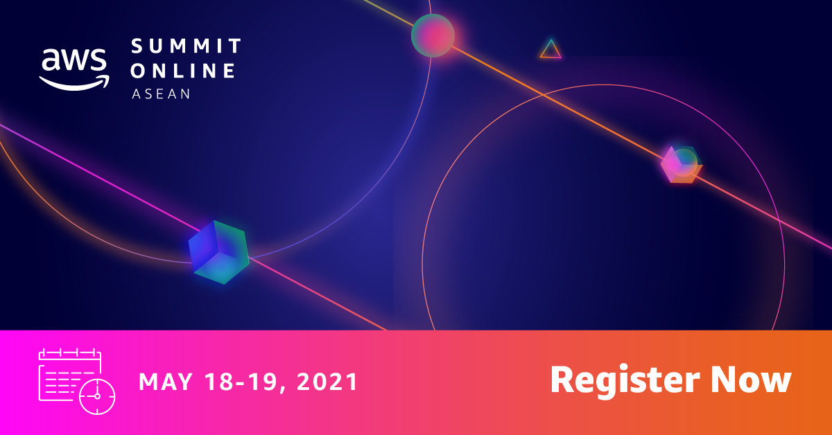 Advertisement for AWS Summit Online ASEAN on May 18 and 19, 2021