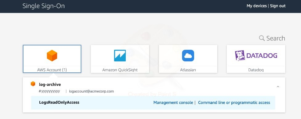 AWS SSO Sign On Page