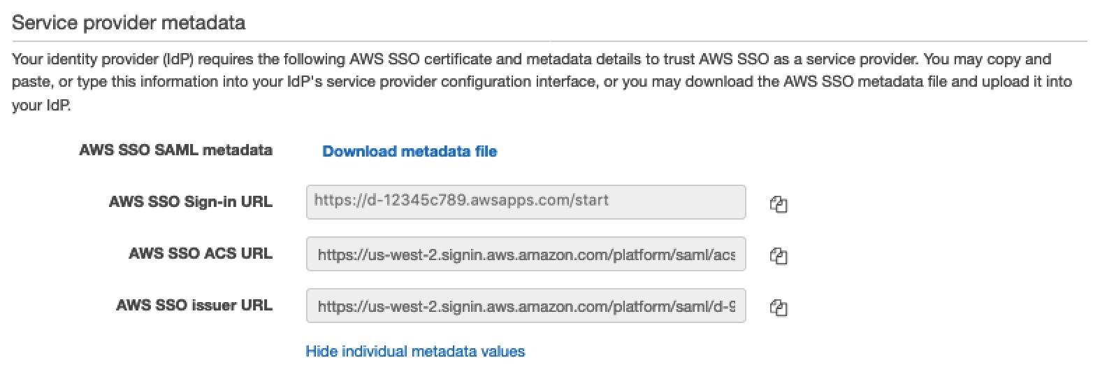 Service Provider metadata
