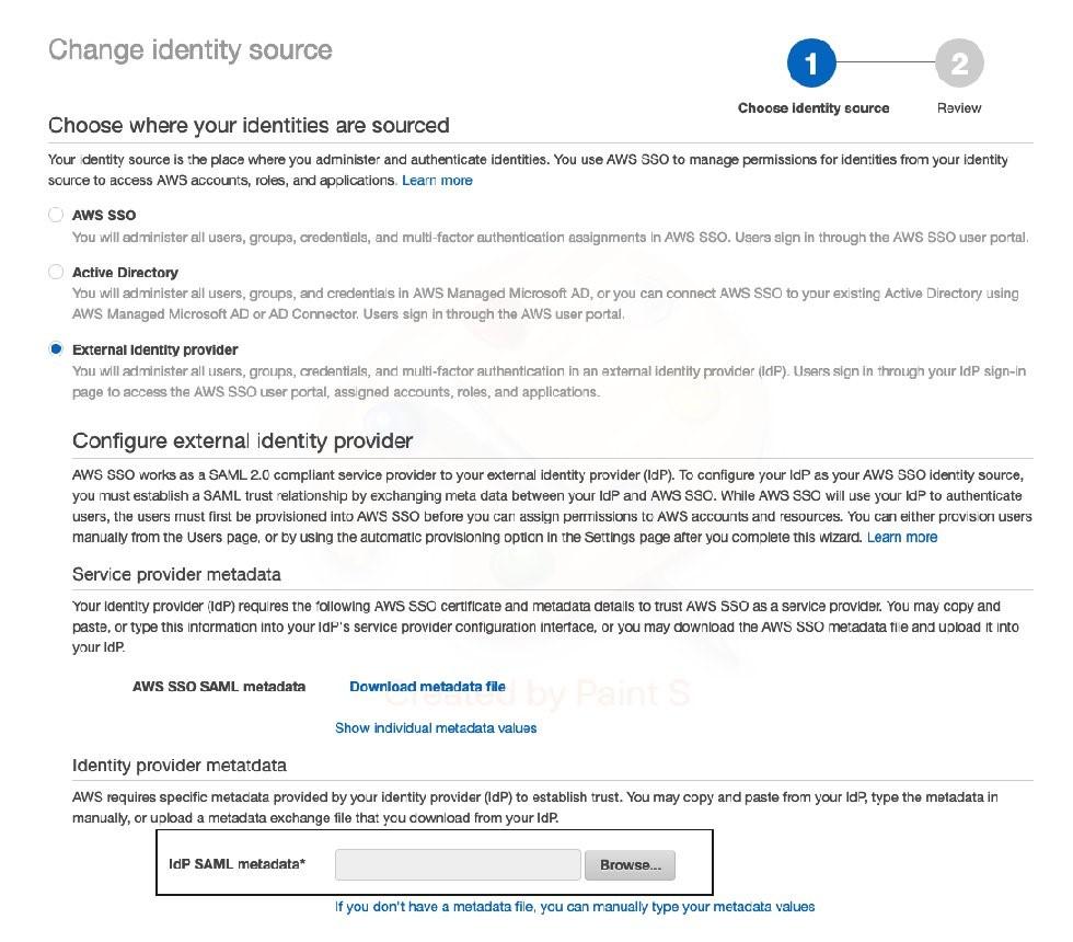 Upload AD FS metadata to AWS SSO