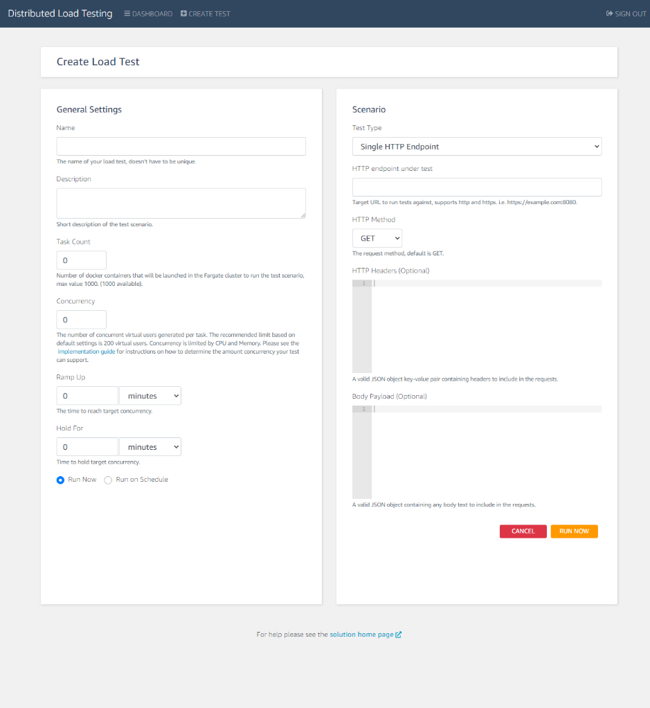 Figure 3. Create load test, schedule test, and submit job view