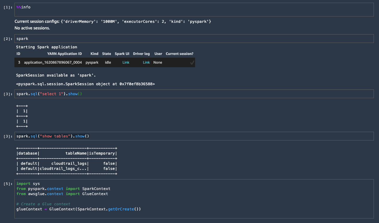 To test the integration, you can run the following command to list the tables in the Glue Data Catalog