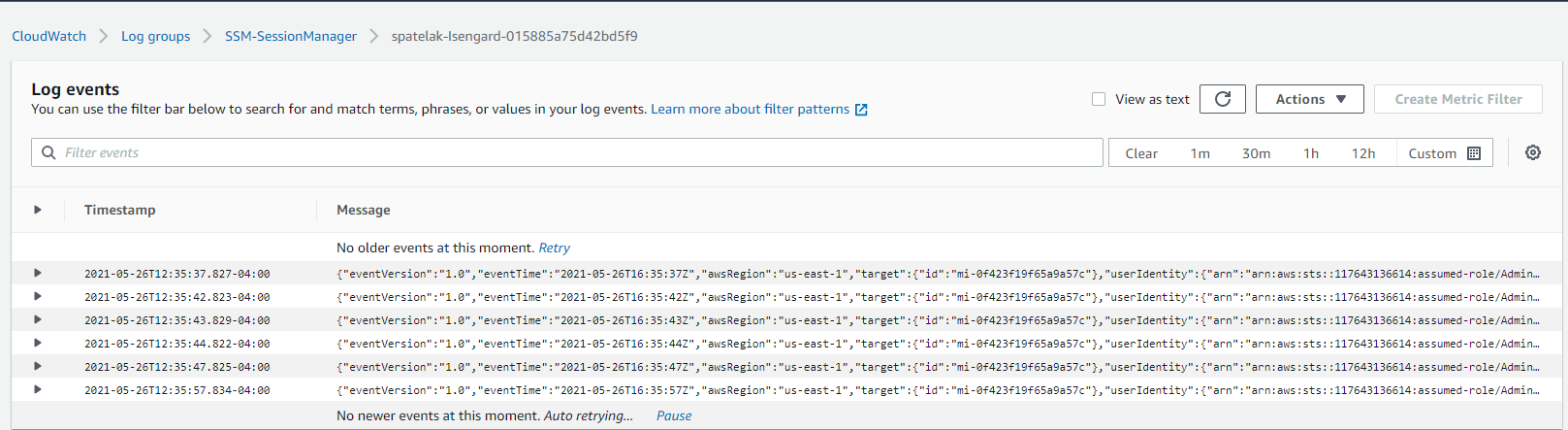 Figure 2. CloudWatch log events for session activity via Session Manager
