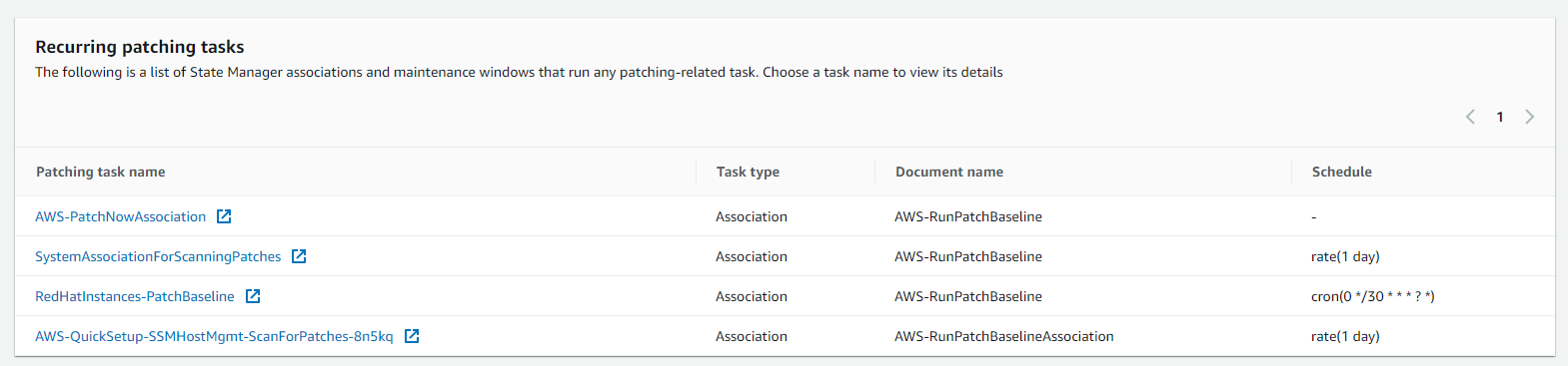 Figure 5. List of all recurring patching tasks