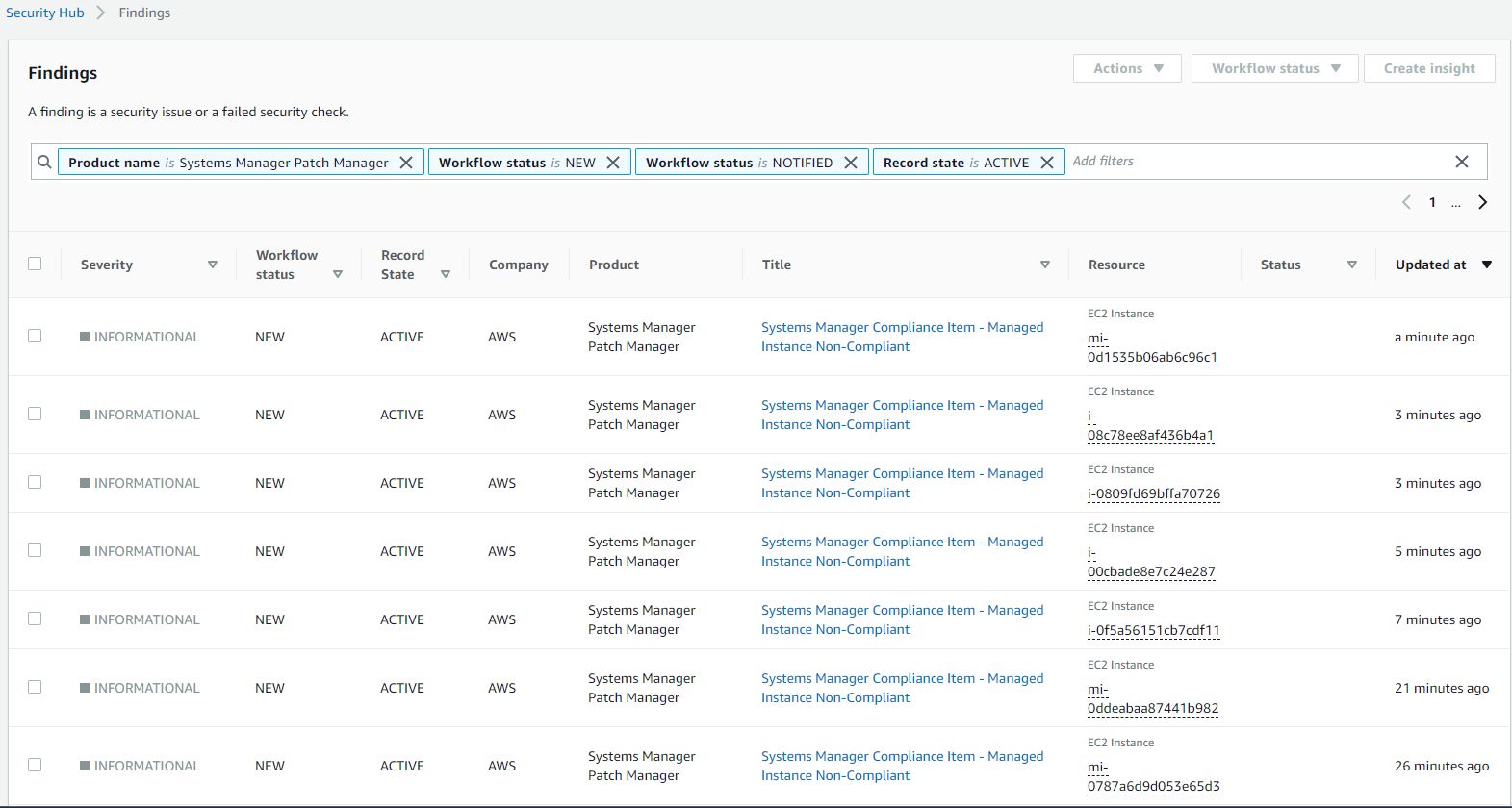 Figure 7. Non-compliant instances and VMs being reported via AWS Security Hub