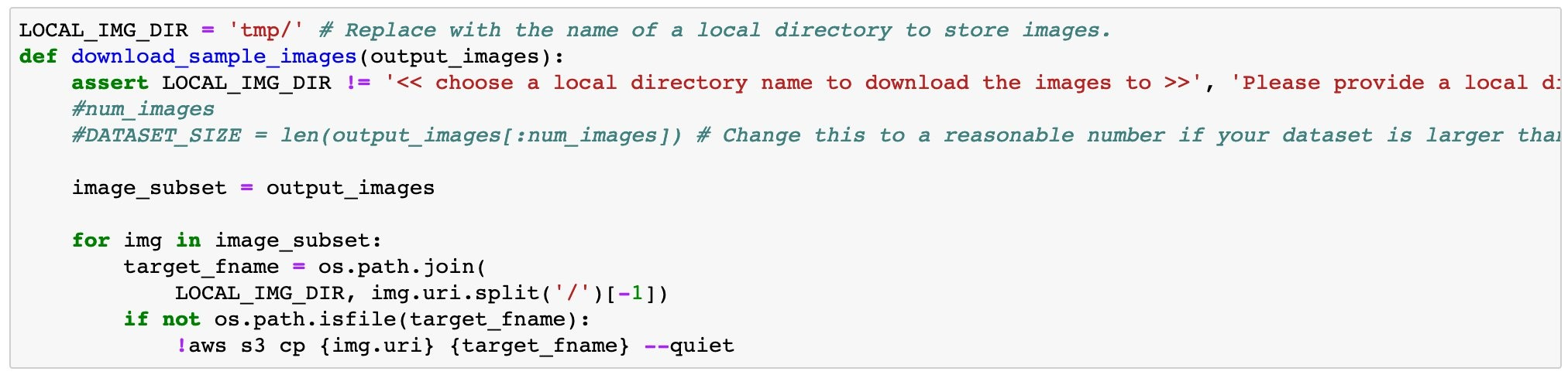Code sample to show additional help functions