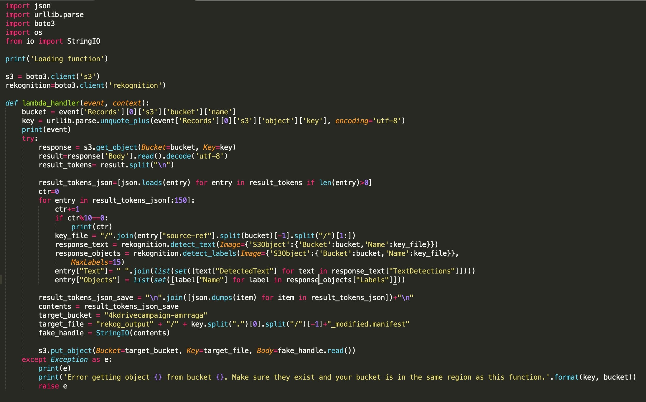 Preparing image metadata using Amazon Rekognition