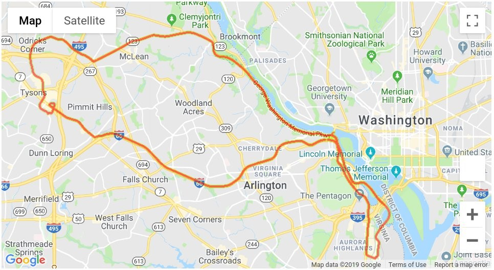 The dataset we acquired was a driving sample in the N. Virginia/Washington DC metro area, as shown in the following image