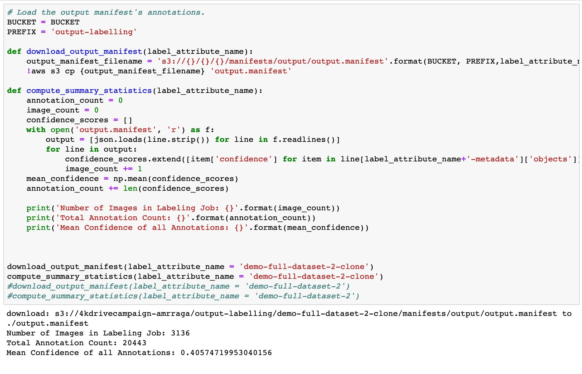Code to calculate the number of annotations and the mean confidence score for two jobs.
