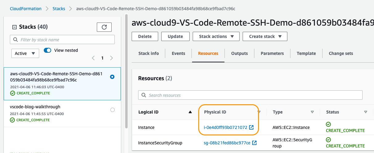 CloudFormation Screenshot