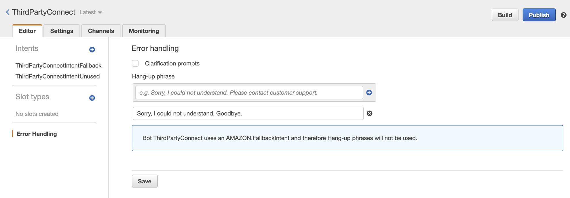 Figure 5. Amazon Lex error handling clarification prompts