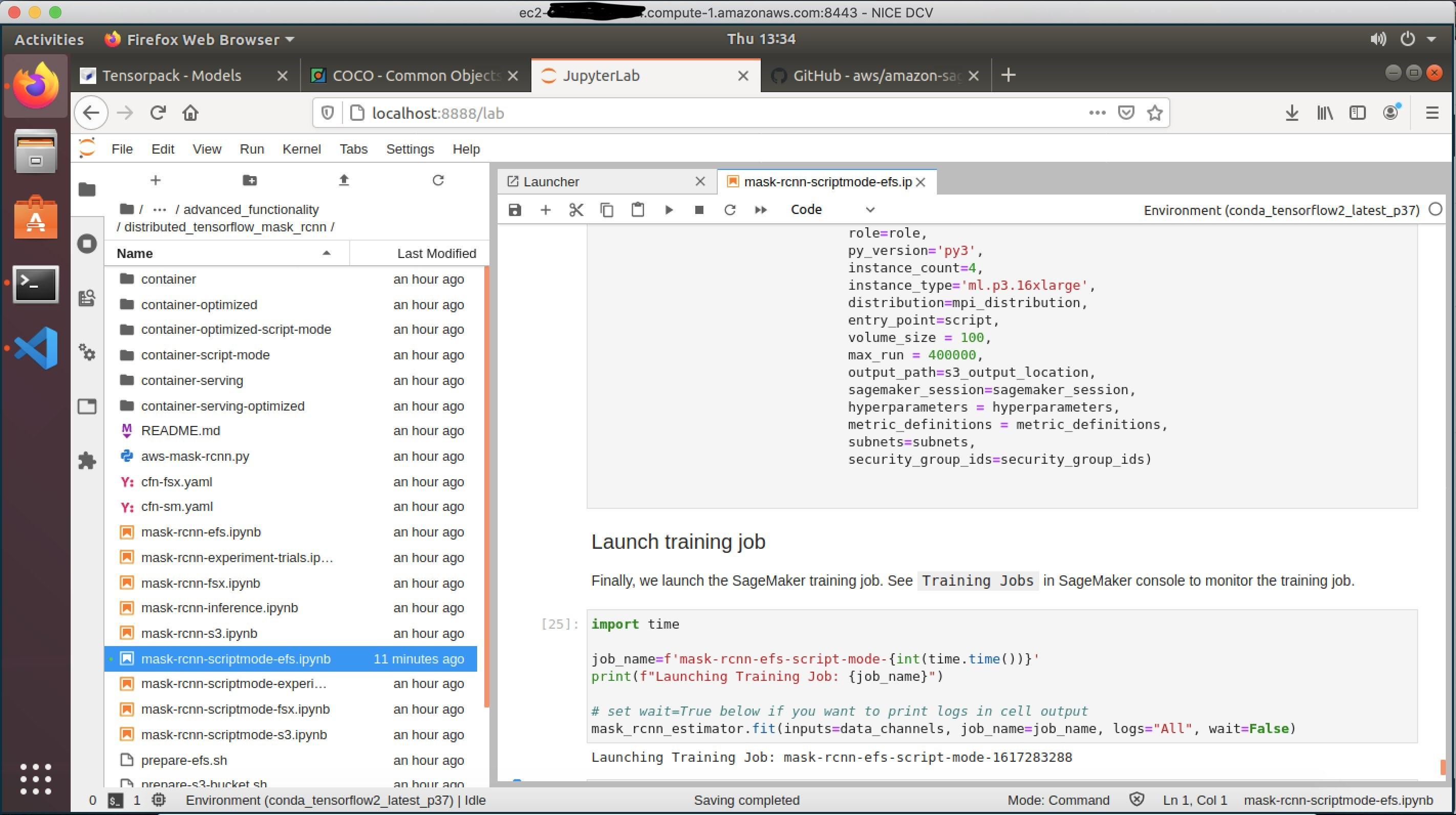 Submitting a SageMaker training job from deep learning desktop using Jupyter Lab notebook