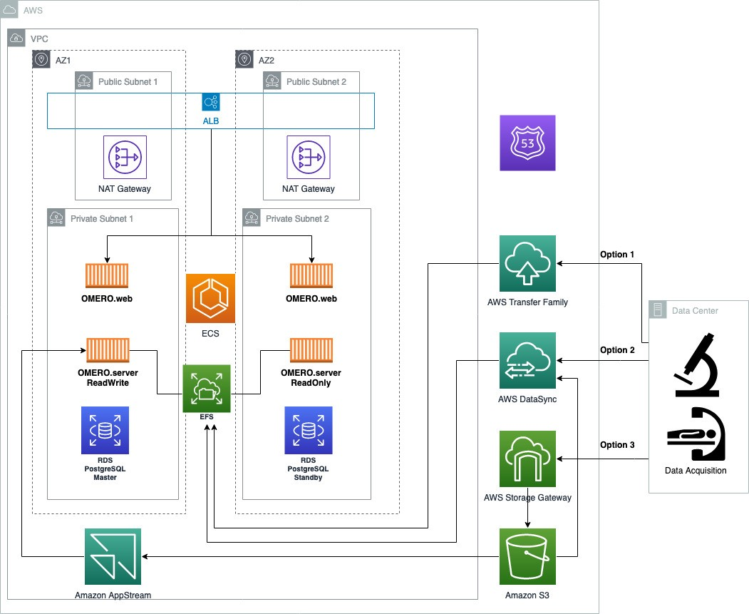 Figure 1. Architectural diagram for a highly available (HA) deployment of OMERO on AWS including data ingestion options