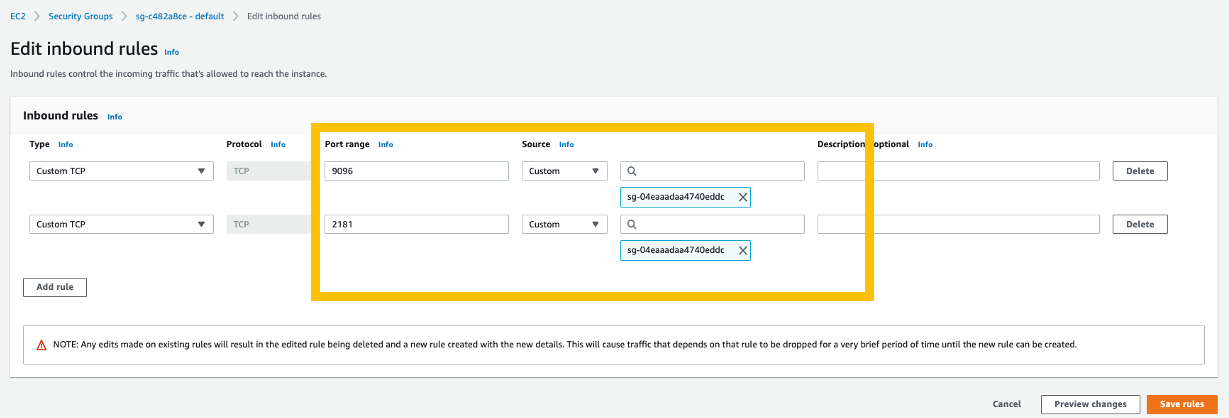 Figure 11 - Screenshot showing Edit Inbound Rules added