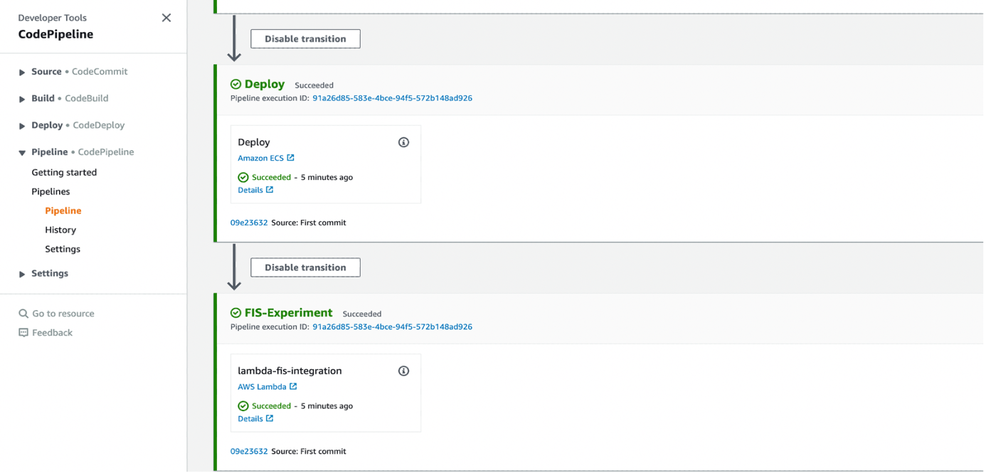 Figure 4. AWS CodePipeline with AWS FIS experiment stage