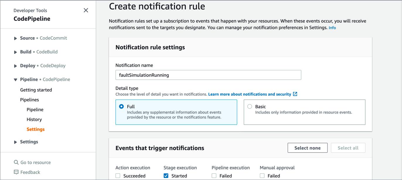 Figure 5. AWS CodePipeline notification rule setting