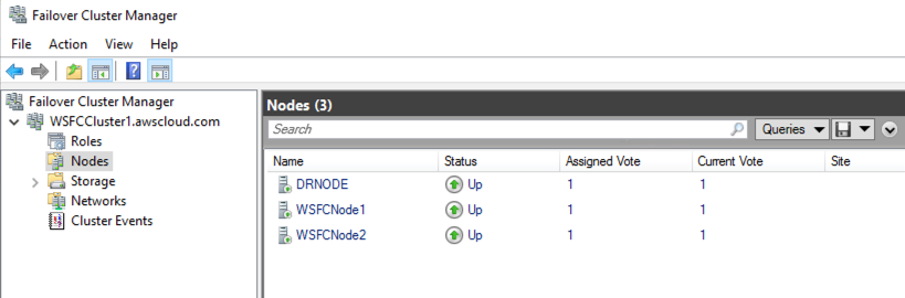 Figure 3 –Shows all three nodes status participating in Windows Failover Cluster