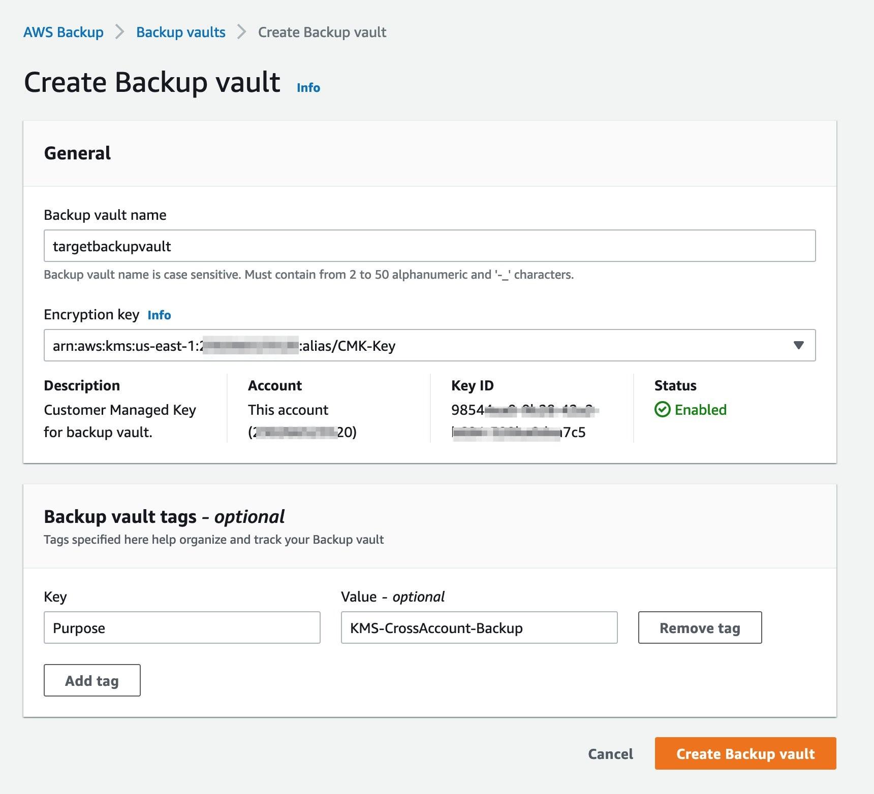 Figure 8: Create backup vault