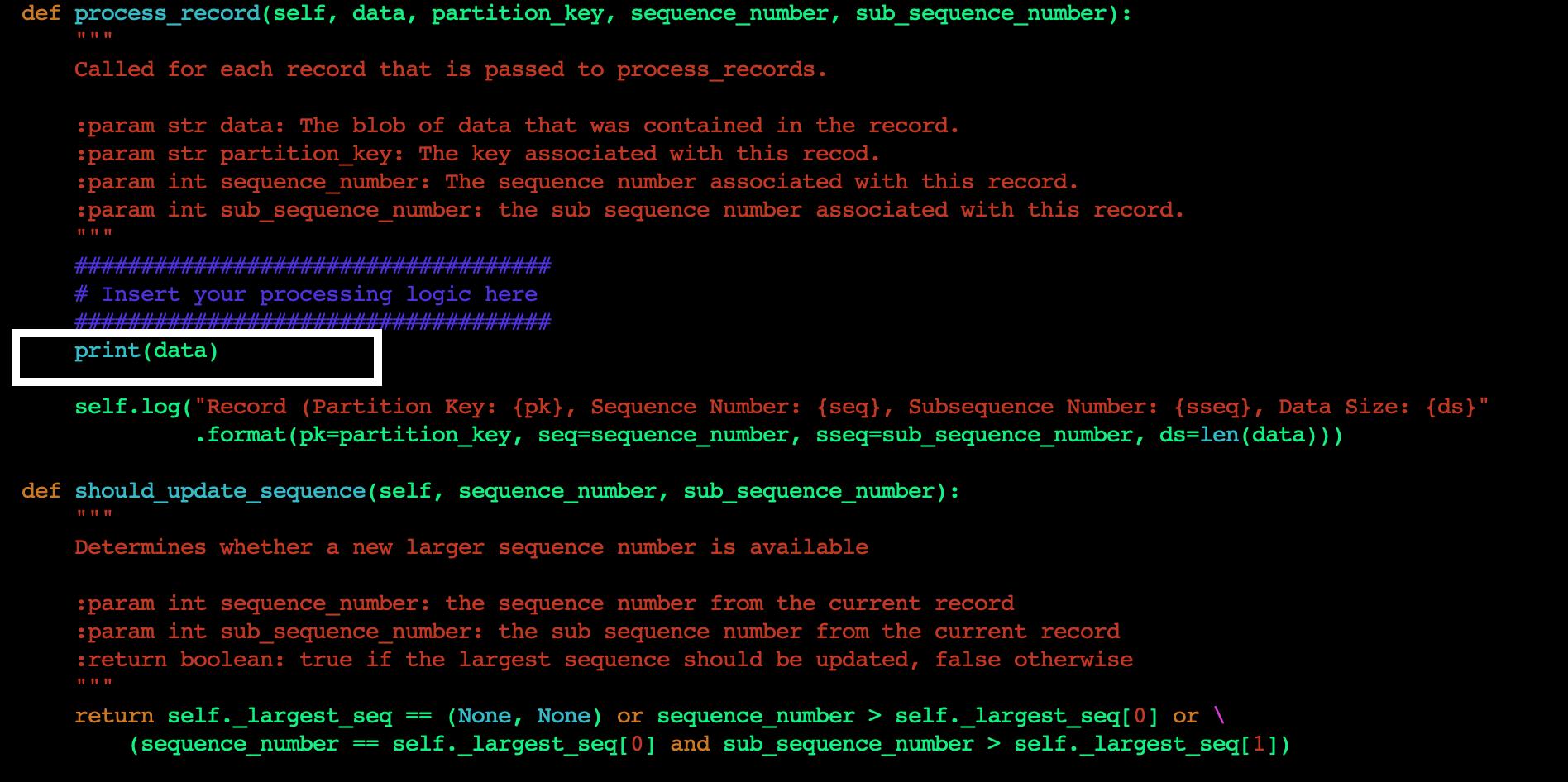 Figure 5. Add custom code to process_record method