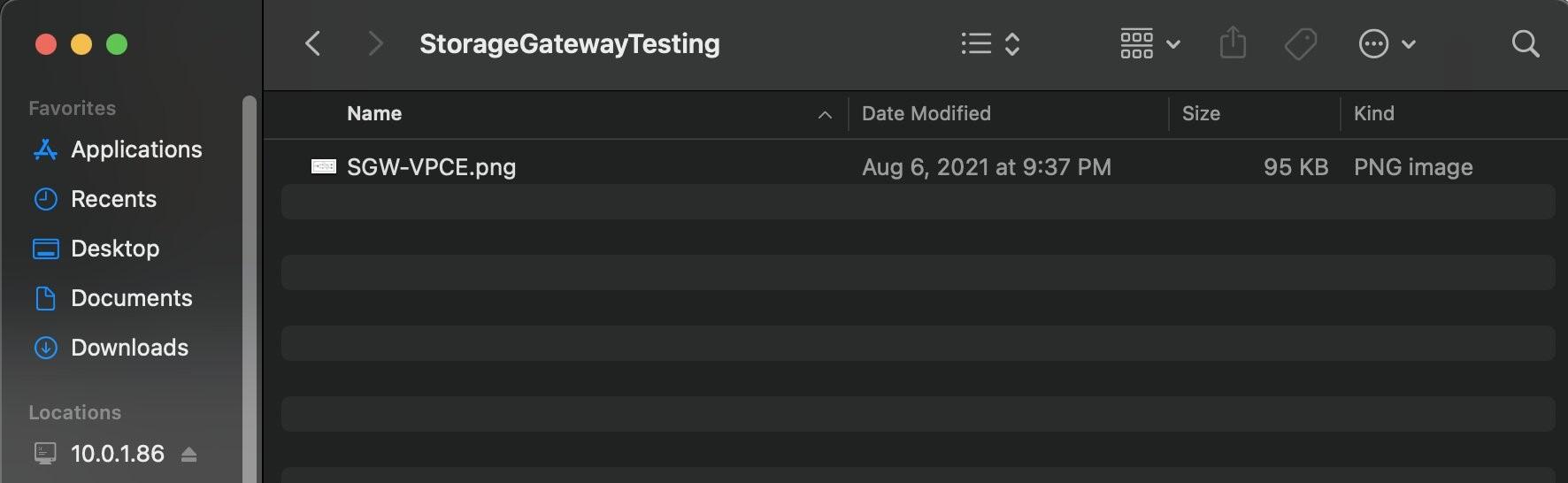 Figure 4. Upload a sample file to on-premises Storage Gateway