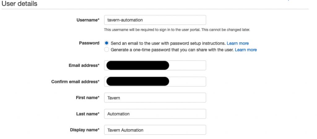 Figure 2.AWS SSO create user