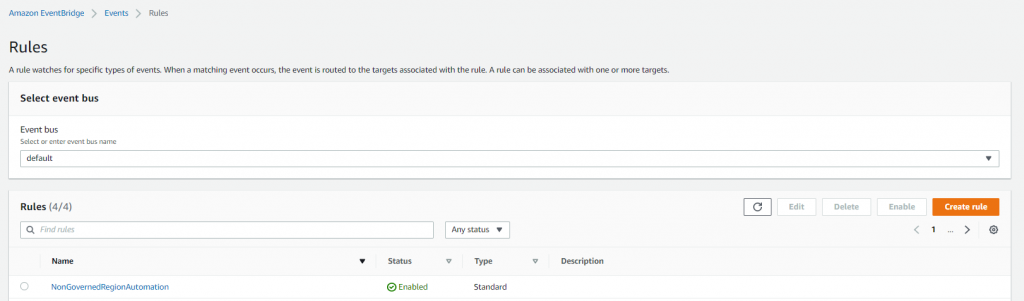 Figure 11. Amazon EventBridge rule initiated with AWS Lambda