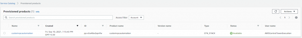 Figure 14. AWS Service Catalog provisioned product
