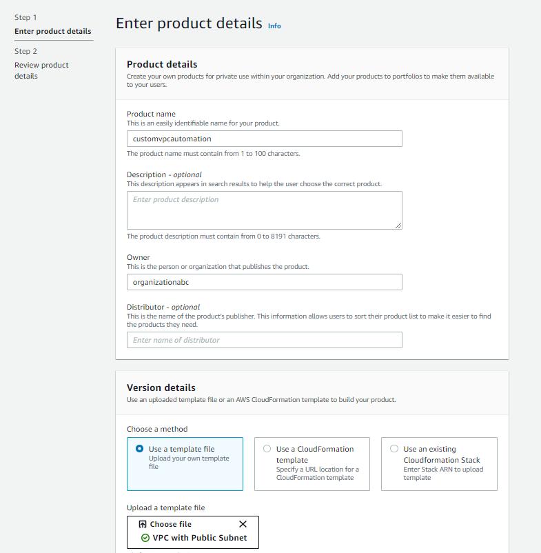 Figure 3. AWS Service Catalog product