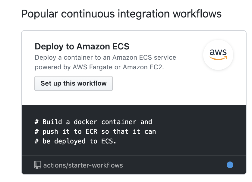 Example Add AWS ECS Starter Workflow