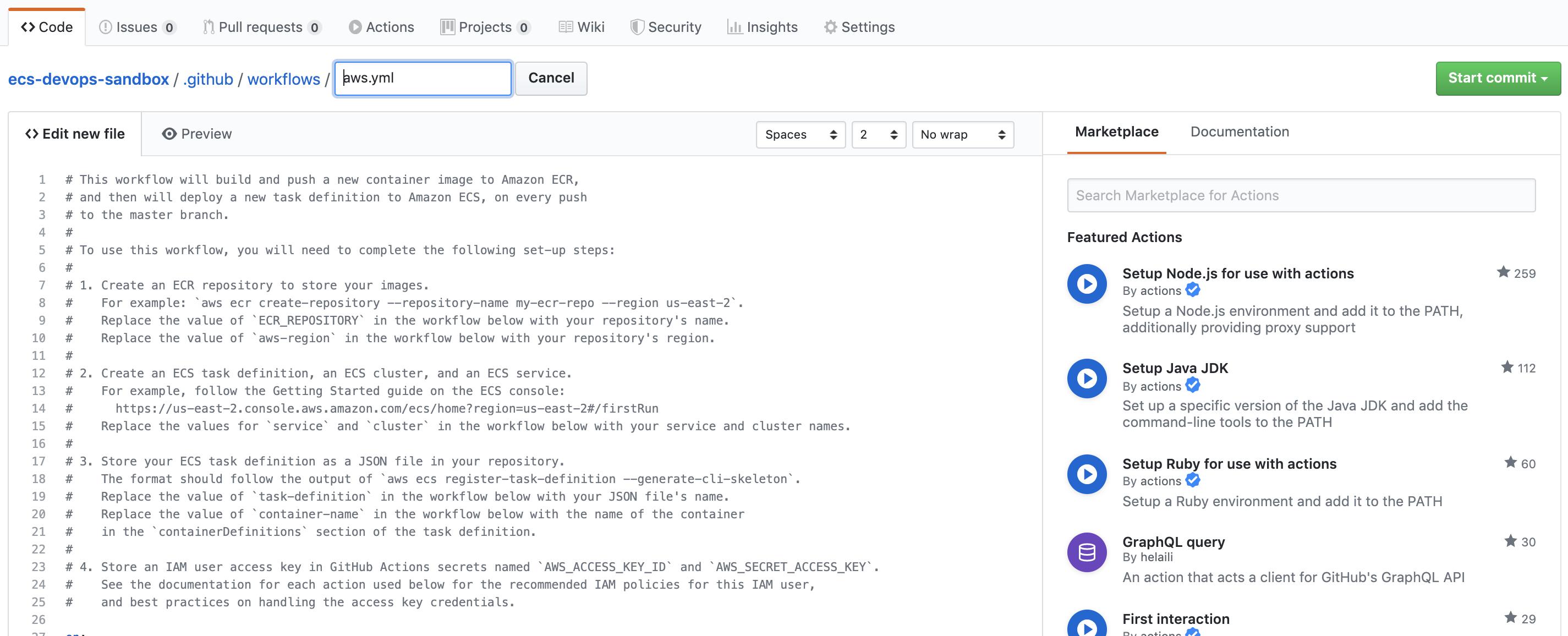 Example GitHub Workflow for ECS