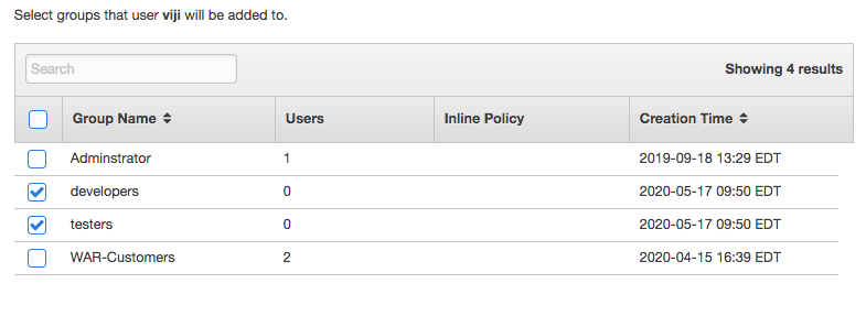 Managing user-group associations in the AWS IAM dashboard