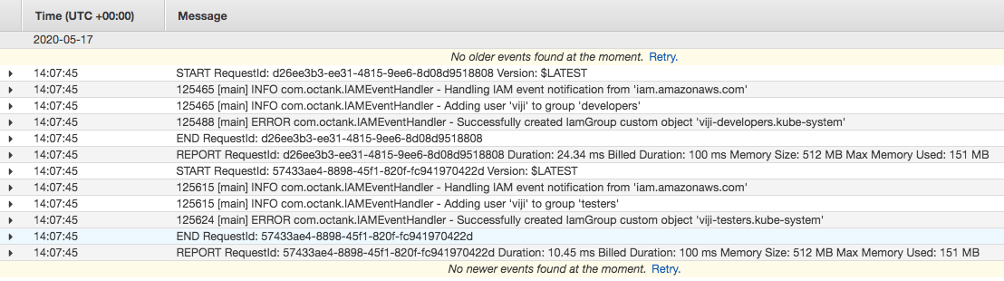 CloudWatch logs for AWS Lambda handling event notifications from AWS IAM