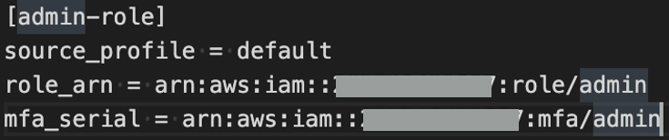 IAM role configuration in CLI credentials file